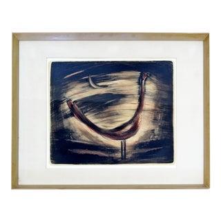 Mid Century Modern Framed Original Drawing Signed Emil Weddige Rooster in Moon For Sale