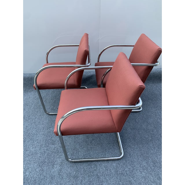 1970s 1970s Chrome Cantilever Chairs Attributed to Thonet - Set of 3 For Sale - Image 5 of 12