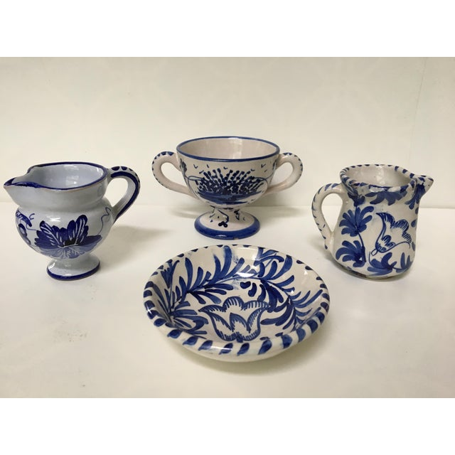 1950's Italian Blue & White Hand Painted Pottery/Ceramic - 4 Pc. For Sale - Image 11 of 11