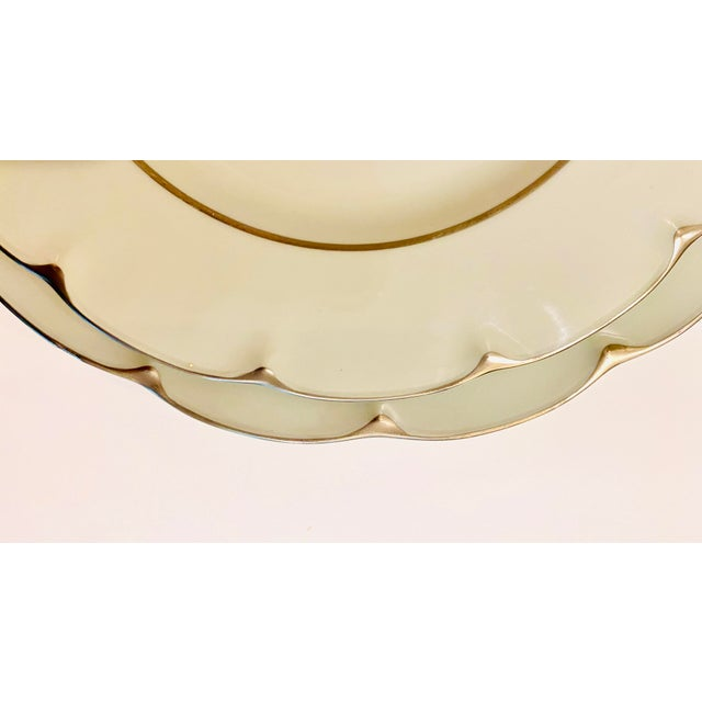 """Ceramic Theodore Haviland """"Concorde"""" Limoges Celadon and Silver Scalloped Plates - Set of 13 For Sale - Image 7 of 11"""