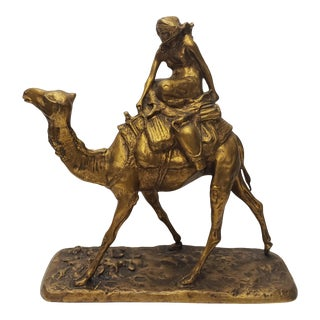 Late 19th Century French Gilt Bronze Bedouin Camel Rider Sculpture For Sale