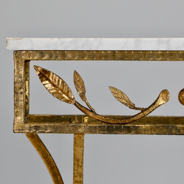 1950s French Gilt Iron Wall Hung Console with Marble Top For Sale - Image 5 of 11