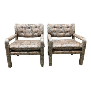 Late 20th Century Vintage Paisley Upholstered Parsons Armchairs For Sale