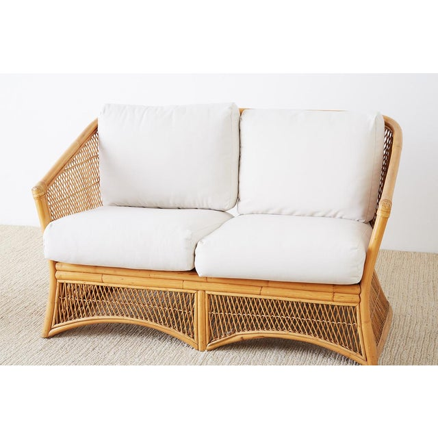 Midcentury Bamboo Rattan Wicker Settee or Loveseat For Sale - Image 4 of 13