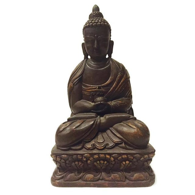 Vintage Carved Nepal Buddha Tall Temple Statue - Image 5 of 6