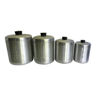 1960s Vintage Aluminum Spun Atomic Baking Canisters - Set of 4 For Sale