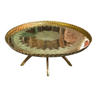 Mid-Century Modern Large Moorish Brass Table For Sale