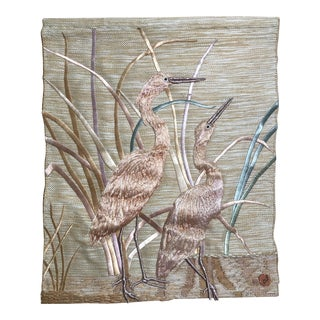 """Textile Art by Don Freedman of Cranes - 32x40"""" For Sale"""