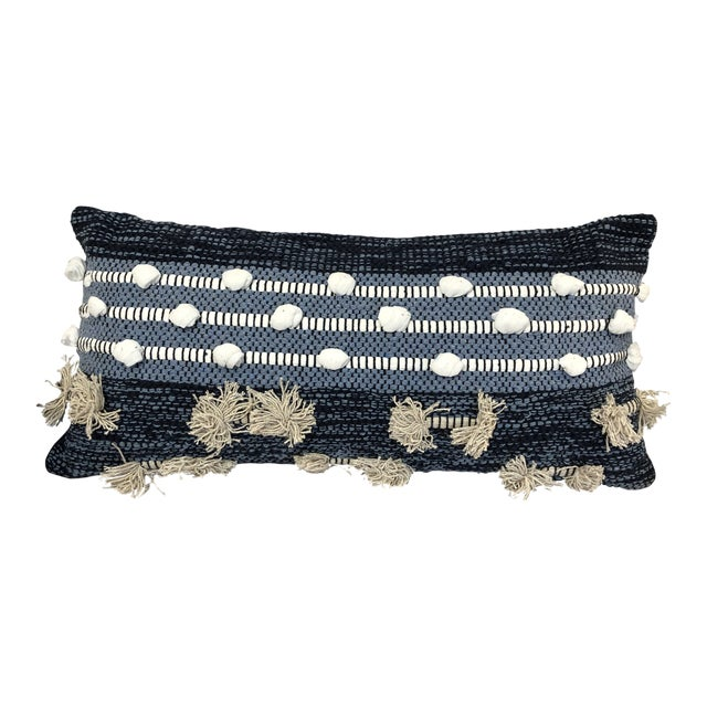 Boho Chic Kenneth Ludwig Chicago Blue Pillow For Sale
