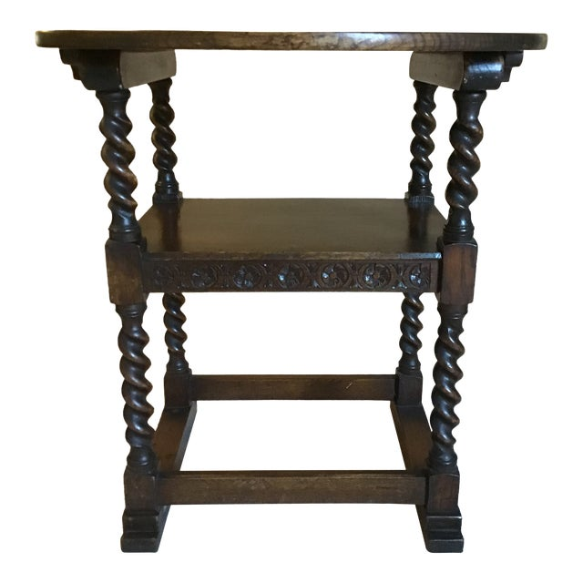 Antique Monk's Chair/Side Table For Sale