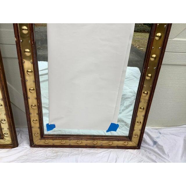 Sarreid Ltd. Pair of Sarreid Brass & Pine Mirrors, Italy For Sale - Image 4 of 11