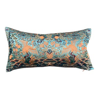 Hollywood Regency Turquoise & Silver Asian Chinoiserie Cranes Lumbar Boudoir Pillow For Sale