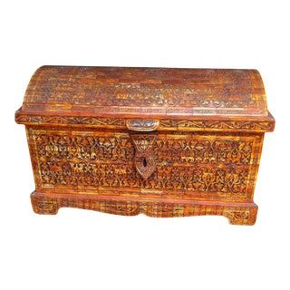 Moroccan Berber Hand-Carved Bone Storage Chest For Sale