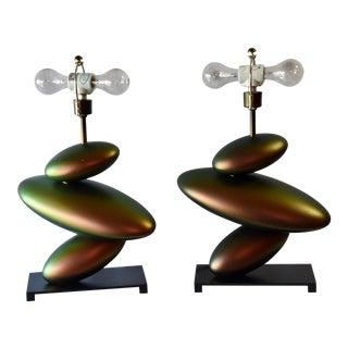 Fine Art Lamp Lamps Bronze Finish Lamps - a Pair For Sale