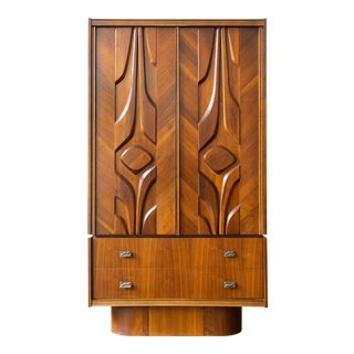 1960's Mid Century Canadian Brutalist Armoire For Sale