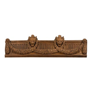 French Louis XVI Period Oak Carving circa 1790 with Lion Heads and Swag For Sale