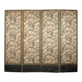 French 19th Century Zuber Style Four-Panel Paper on Canvas Screen For Sale