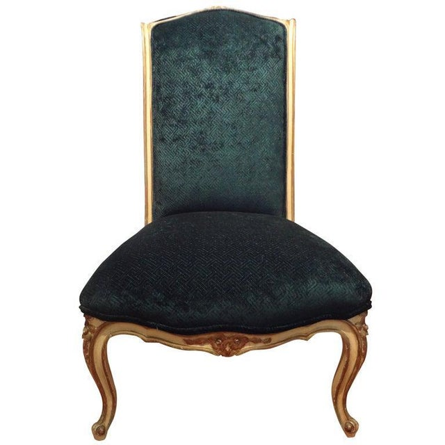 Blue 1920's French Louis XV Style Painted and Gilt Wood Chair For Sale - Image 8 of 8