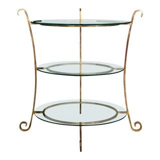 Three-Tier Glass & Gilt Metal Etagere Server or Stand