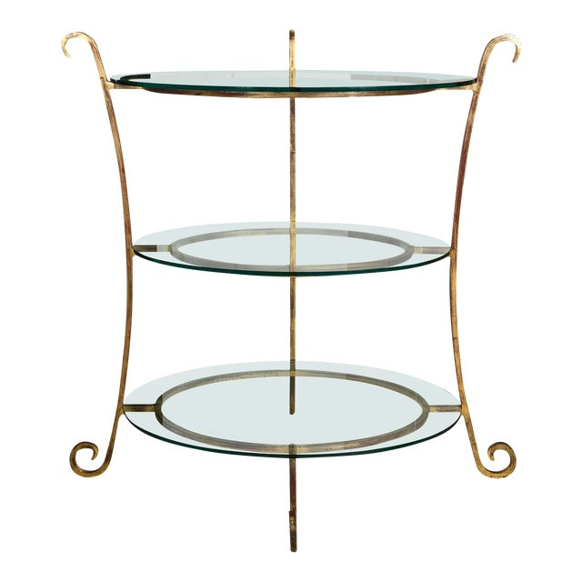 Three-Tier Glass & Gilt Metal Etagere Server or Stand For Sale