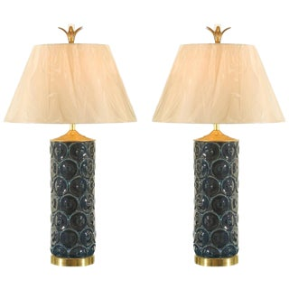 Restored Pair of Vintage Ceramic, Brass and Lucite Lamps For Sale