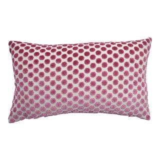 FirmaMenta Italian Pink Velvet Polkadot Lumbar Pillow For Sale