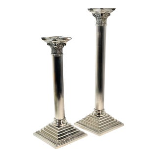 Godinger Corinthian Column Silverplated Candle Holders - a Pair For Sale