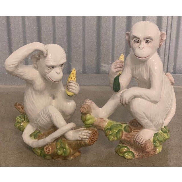 Vintage White Italian Ceramic Monkeys - a Pair For Sale - Image 9 of 13