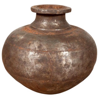 Indian 19th Century Metal Water Jug with Wide Belly and Protruding Lip For Sale
