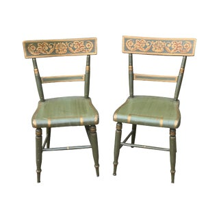 Federal Green Painted Side Chairs circa 1835 - a Pair For Sale