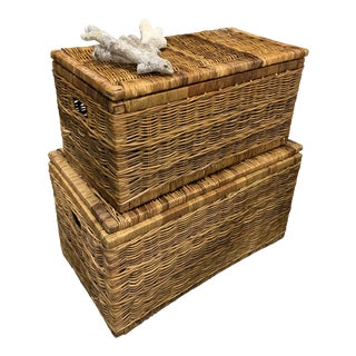 Vintage French Wicker and Leather Trunks Chests- a Pair For Sale