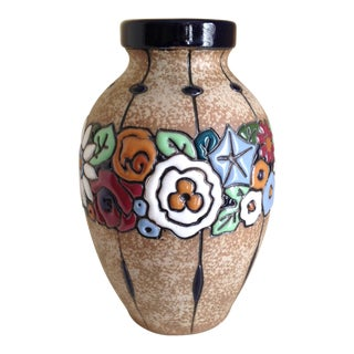 Antique Austrian Amphora Polychrome Ceramic Vase For Sale