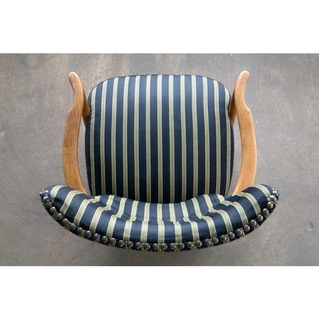 Otto Schulz Style Lounge Chair in Oak With Brass Tacks Danish Midcentury For Sale - Image 10 of 11