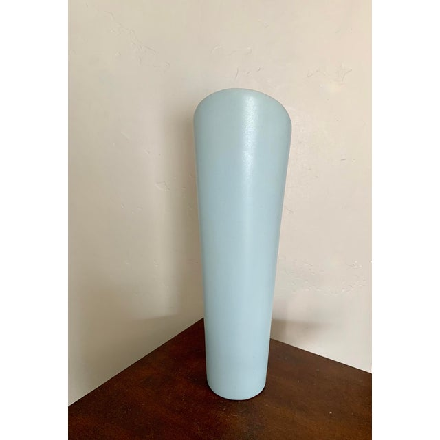 Contemporary Modern Minimalist Light Blue Ceramic Vase For Sale - Image 3 of 5