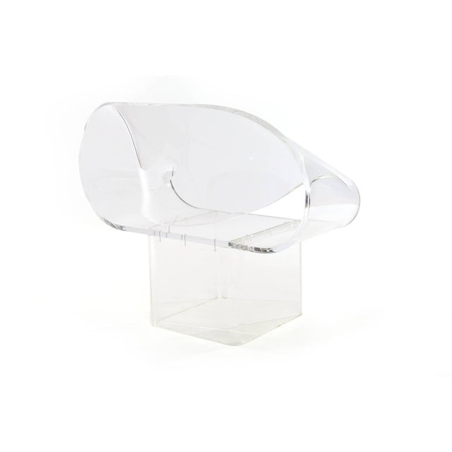 Robert Van Horn Signed Robert Van Horn Lucite Ribbon Chair and Ottoman For Sale - Image 4 of 7