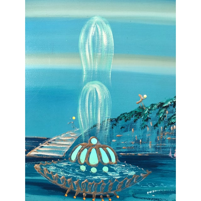 Mid Century Modern Light-Up Oil Painting Signed by Carlo - Image 6 of 9