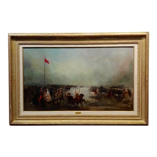 John Lewis Brown French North African Cavalry Battle Oil Painting, 19th Century For Sale