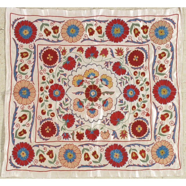 20th Century Asian Suzani Textile Rug - 3′3″ × 3′4″ For Sale - Image 9 of 9