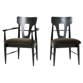 Set of 4 1950's Moss Mohair Dining Chairs