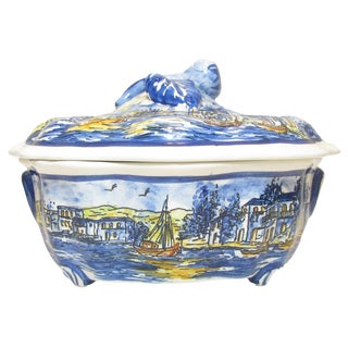 Handpainted Tureen W/ Sailing Scene, Signed For Sale