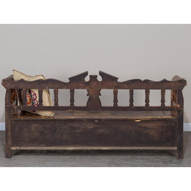 Hungarian Romanian Antique Painted Pine Bench circa 1875 For Sale In Houston - Image 6 of 11