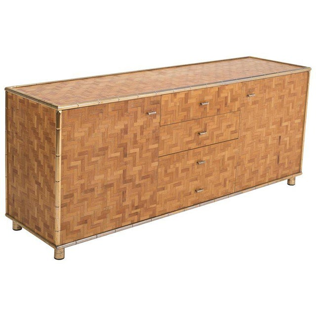 Hollywood Regency Sideboard in Rattan and Bamboo, 1970s For Sale - Image 9 of 9