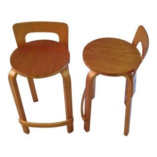 1960s Vintage Original Alvar Aalto Artek K65 Island Bar Chairs- A Pair For Sale