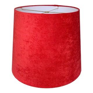 Red Velvet Drum Velvet Lamp Shade For Sale