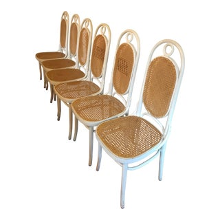 1960s Vintage Cane Bentwood Highback Dining Chairs- Set of 6 For Sale