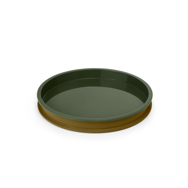 Contemporary Large Circular Tray in Light Olive / Dark Olive - Jeffrey Bilhuber for The Lacquer Company For Sale - Image 3 of 3
