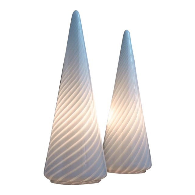 1980s Vintage Conical Vetri Murano Lamps With Diagonal Latticino Stripes- a Pair For Sale