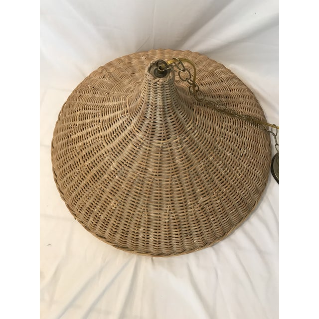 Mid 20th Century Vintage Wicker Parasol Pendant Light For Sale In Naples, FL - Image 6 of 8