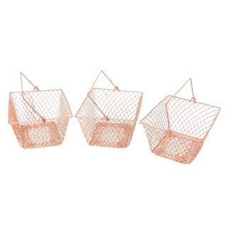 Rose Gold Copper Bathroom Caddy Storage Baskets - Set of 3 For Sale