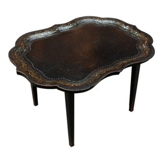 19th Century French Mother of Pearl Inlaid Paper Mache Lift Top Tray Coffee Table For Sale